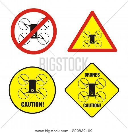 Drones Prohibition And Warning Sign. No Drones Flight.