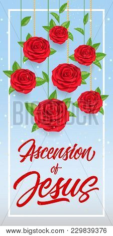 Ascension Of Jesus Lettering In Frame With Hanging Red Roses. Calligraphic Inscription Can Be Used F