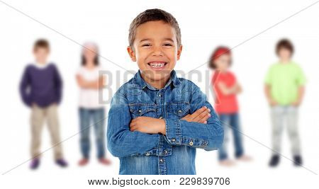 Latin child with a beautiful smile and his friends on the background isolated on white