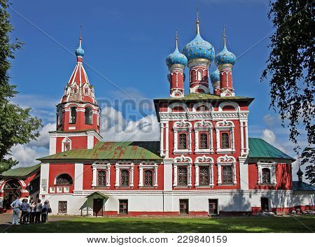 Uglich, Russia - 19 July 2017: Church Of St. Dmitry On The Blood Built On The Banks Of The Volga Riv