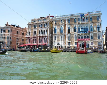 20.06.2017, Venice, Italy: View Of Historic Buildings And Canals From Gondola