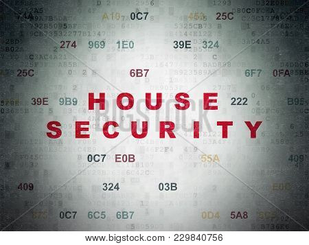 Privacy Concept: Painted Red Text House Security On Digital Data Paper Background With Hexadecimal C