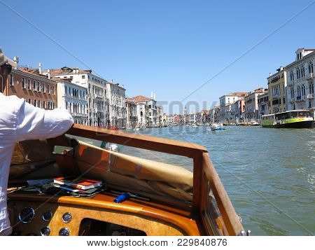 20.06.2017, Venice, Italy: View Of Historic Buildings And Canals From Boat
