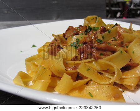 Pappardelle With Mushrooms On Rustic Outdoor Wooden Table At Summer . Italian Recipe