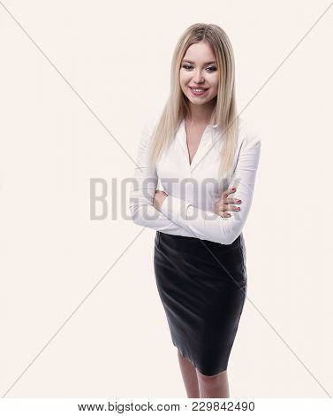 portrait in full growth confident young business woman making a