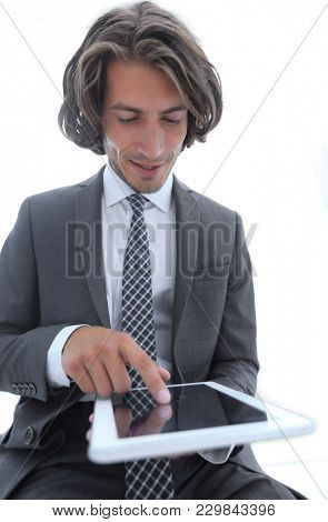stylized photo businessman working on tablet computer.