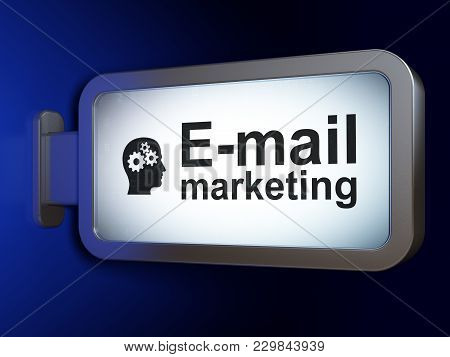 Advertising Concept: E-mail Marketing And Head With Gears On Advertising Billboard Background, 3d Re