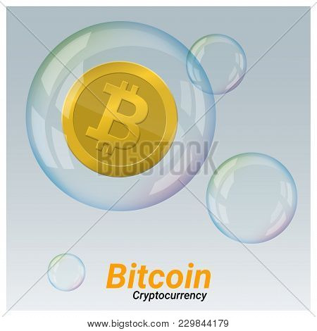Virtual Cryptocurrency Crisis Concept With Bitcoin In Soap Bubble Background , Vector , Illustration