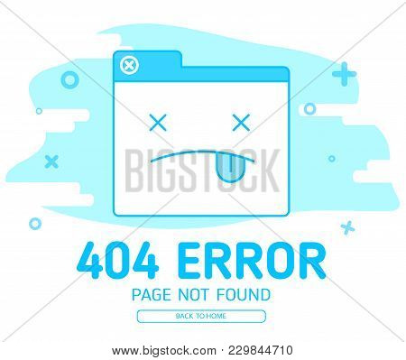 404 Error With Icon Tab Wedsite Error Design Template For Website With Blue Background Graphic