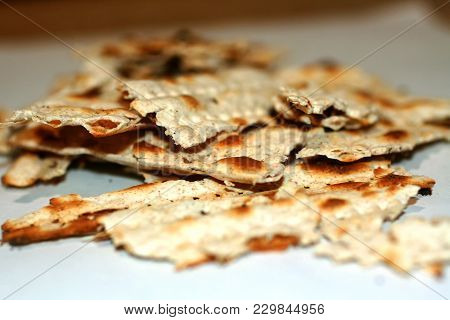 Broken Matzo. Feast Of Pesach. The Jewish Passover