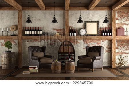 Home Wine Cellar In Retro Style With Two Armchair - 3d Rendering