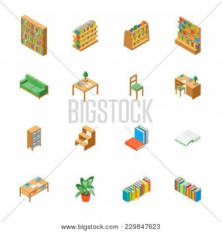 Furniture For Library 3d Icons Set Isometric View Include Of Book, Bookshelf, Bookcase, Table, Chair