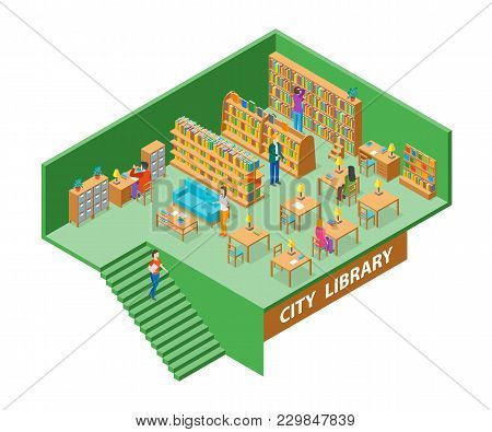 City Library Interior With Furniture Isometric View Education, Knowledge And Study Concept. Vector I