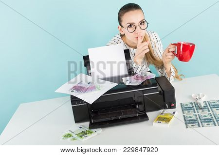Attractive Woman In Shirt And Eyeglasses Isolated On Blue Background Printing Dollar And Euro Bankno