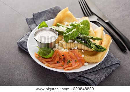 Savory Crepes With Salmon, Sour Cream, Feta And Asparagus