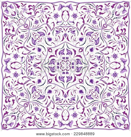 Square Arabic Pattern For The Silk Scarf, Scarf, Printing Factory, Carpet. Abstract Ornament Purple