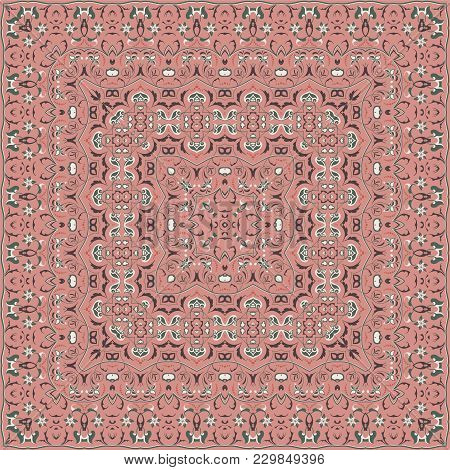 Bright Color Pattern In Oriental Style. Square Ornament For Shawls, Scarves Or Pillow. Can Be Used F