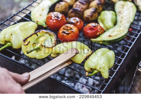 Assorted Grilled Vegetables.chef Cooking Vegetables.top View Close Up