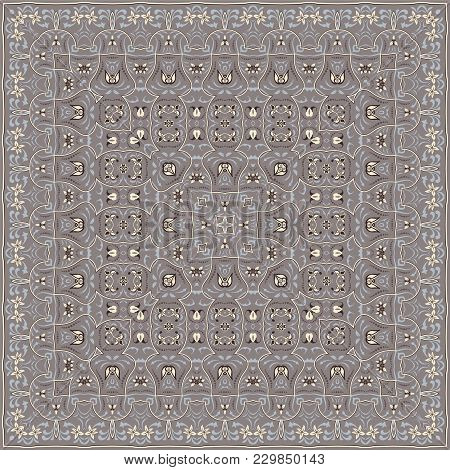 Square Pattern For The Silk Scarf, Scarf, Printing Factory, Carpet. Arabic Classic Style. Vector Ill