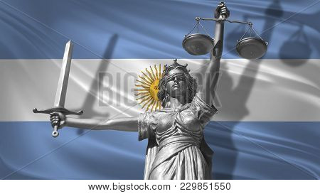 Cover About Law. Statue Of God Of Justice Themis With Flag Of Argentina Background. Original Statue