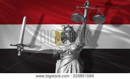 Cover About Law. Statue Of God Of Justice Themis With Flag Of Azerbaijan Background. Original Statue