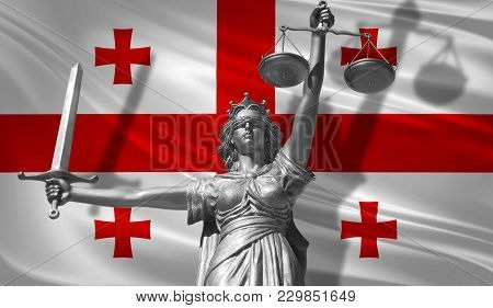 Cover About Law. Statue Of God Of Justice Themis With Flag Of Georgian Background. Original Statue O