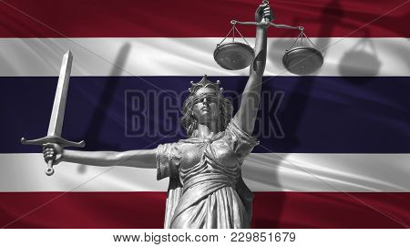 Cover About Law. Statue Of God Of Justice Themis With Flag Of Thailand Background. Original Statue O