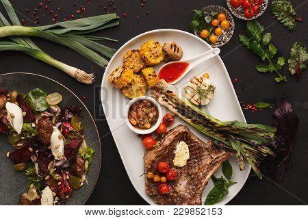 Restaurant Dish Background. Juicy Medium Beef Steak With Grilled Vegetables. Healthy Exclusive Food