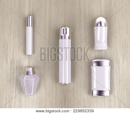 Set Of Female Cosmetic Products On Wooden Table, Top View. 3d Illustration