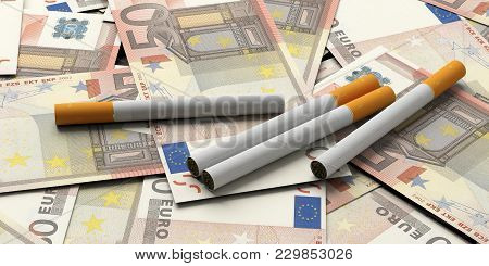 Smoking Cost Concept. Cigarettes In Euros Banknotes Background. 3D Illustration