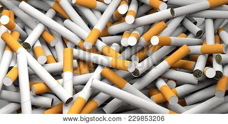 Smoking Concept. Cigarettes Full Background. 3D Illustration