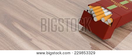 Smoking. Brand Name Cigarette Pack On Wooden Background, Banner, Copy Space. 3D Illustration
