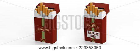 Brand Name Cigarette Packs Isolated On White Background. Smoking Kills Label. 3D Illustration