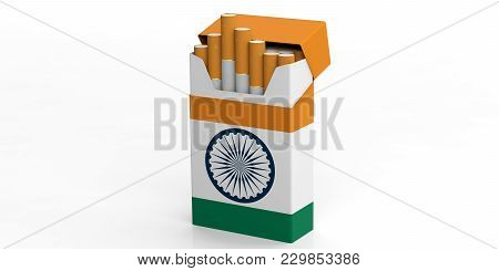 Smoking, Cigarettes India. Indian Flag On A Cigarette Pack Isolated On White Background. 3D Illustra