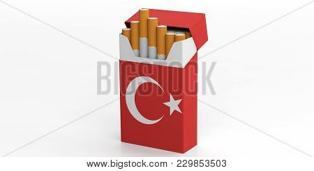 Smoking, Cigarettes Turkey. Turkish Flag On A Cigarette Pack Isolated On White Background. 3D Illust