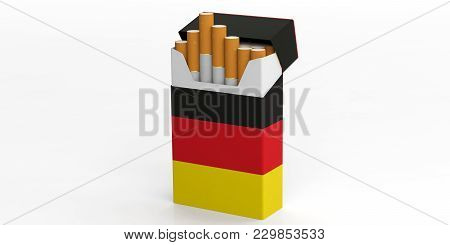 Smoking, Cigarettes Germany. German Flag On A Cigarette Pack Isolated On White Background. 3D Illust
