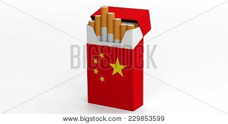 Smoking, Cigarettes China. Chinese Flag On A Cigarette Pack Isolated On White Background. 3D Illustr