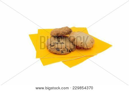 Isolated Fresh Homemade Cookies On A Yellow Napkin
