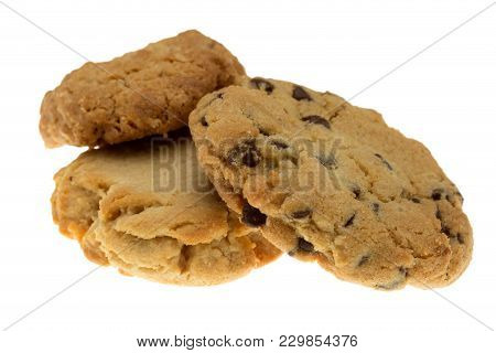 Isolated On White Fresh Homemade Assorted Cookies