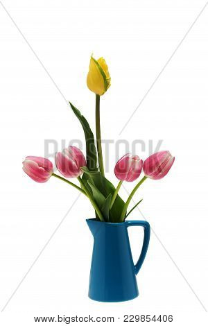 Isolated Pink And Yellow Tulips In A Blue Vase