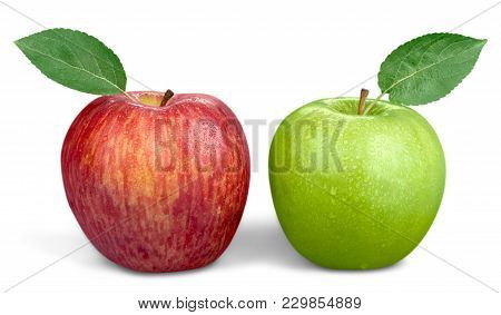 Green Two Apples Healthy Lifestyle Healthy Food Low Fat Color