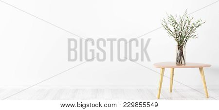 Room Interior Background,  Glass Vase With Flower Branches On The Table Over White Wall, Panorama, 3