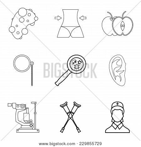 Health System Icons Set. Outline Set Of 9 Health System Vector Icons For Web Isolated On White Backg