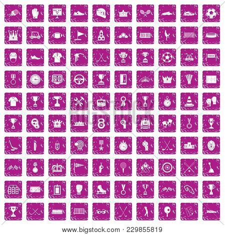 100 Awards Icons Set In Grunge Style Pink Color Isolated On White Background Vector Illustration
