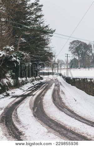 Roads Barely Usable In The Aftermath Of Storm Emma, Also Known As The Beast From The East, Which Hit