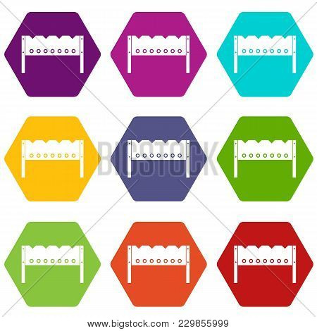 Brazier Icon Set Many Color Hexahedron Isolated On White Vector Illustration