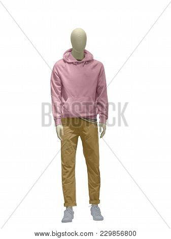 Full-length Male Mannequin Dressed In Casual Clothes Over White Background.  No Brand Names Or Copyr