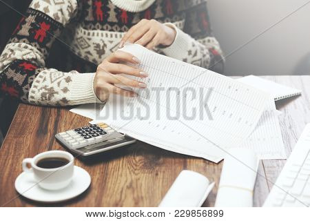 Business Woman Hand Documents In The Office