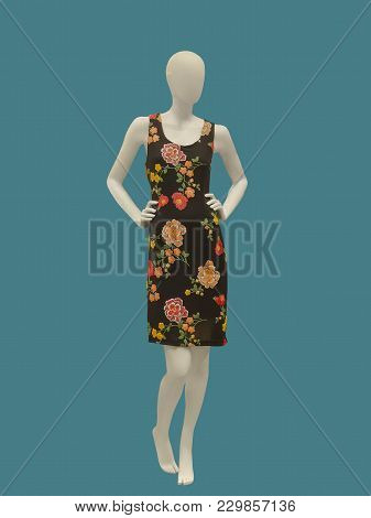 Ffull-length Female Mannequin Wearing Black Dress With Flower Pattern, Isolated. No Brand Names Or C