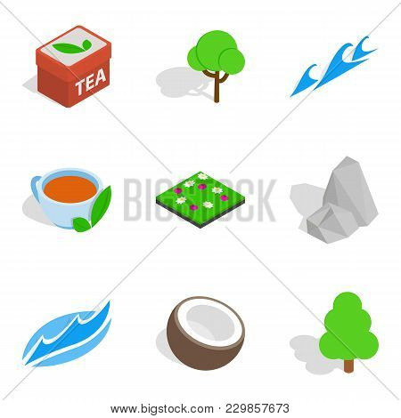 Eco Zone Icons Set. Isometric Set Of 9 Eco Zone Vector Icons For Web Isolated On White Background